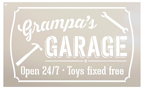 Grampa's Garage - Open 24/7 Sign Stencil by StudioR12 | Reusable Mylar Template | Use to Paint Wood Signs - Pallets - DIY Grandpa Gift - Select Size (16