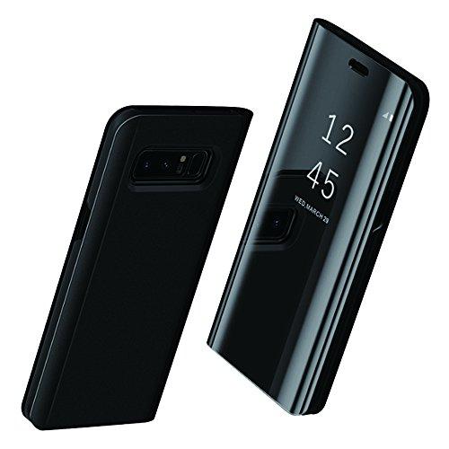 Price comparison product image vanki Galaxy S8 Plus Case Mirror Flip Smart Translucent View Window Sleep Cover (Samsung Galaxy S8 Plus, Black)