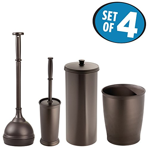 mDesign Plunger Bowl Brush, Trash Can, Toilet Paper Roll Canister and Toilet Brush Bathroom Accessory Set - Pack of 4, Bronze by mDesign