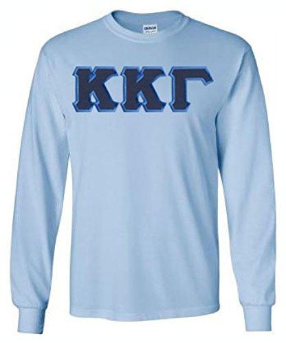 Greekgear Kappa Kappa Gamma Lettered Long Sleeve Tee Medium Light Blue