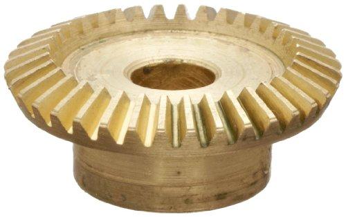 "Boston Gear G479Y-G Bevel Gear, 2:1 Ratio, 0.188"" Bore, 48 Pitch, 36 Teeth, 20 Degree Pressure Angle, Straight Bevel, Keyway, Brass"