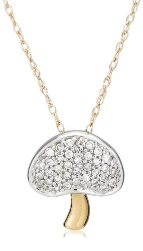 14k Yellow Gold Diamond Mushroom Pendant (1/8 cttw, G-H Color, I1 Clarity), 18""