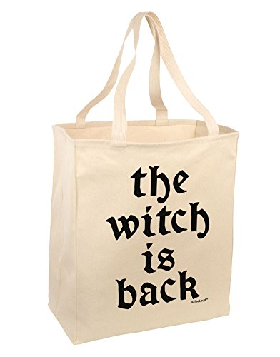 TooLoud The Witch Is Back Large Grocery Tote Bag-Natural -