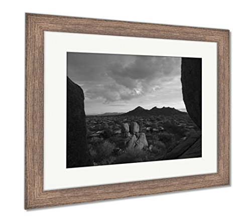 (Ashley Framed Prints Golden Hour Arizona Landscape Scottsdale Phoenix Areausa, Wall Art Home Decoration, Black/White, 26x30 (Frame Size), Rustic Barn Wood Frame, AG6123853)