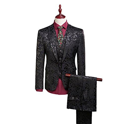 YFFUSHI Mens One Button Tailoring Floral 3 piece Slim Fit Suit, Black, Medium