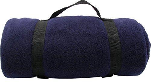 Simplicity Warm Polar Fleece Anti-Pilling Blanket with Nylon Strap, Navy, 50 inches x 60 (Best Amc Picnic Blankets)