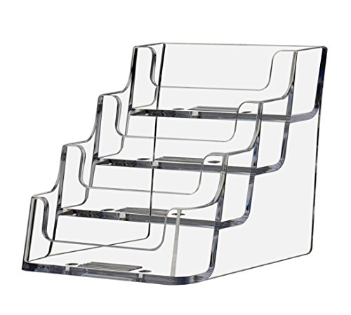 - deflect-o Four-pocket countertop clear plastic business card holder, 3-7/8wx4-1/8dx3-1/2h