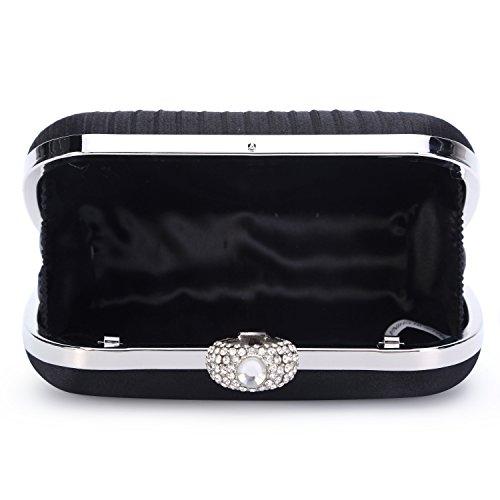 CLOCOLOR Bolso de mano con diamantes cristales cartera de mano para mujer bolso de estilo elegante bolso para fiesta de noche con cadena de metal Negro