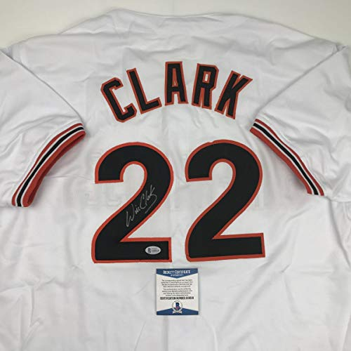 Autographed/Signed Will Clark San Francisco White Baseball Jersey Beckett BAS COA