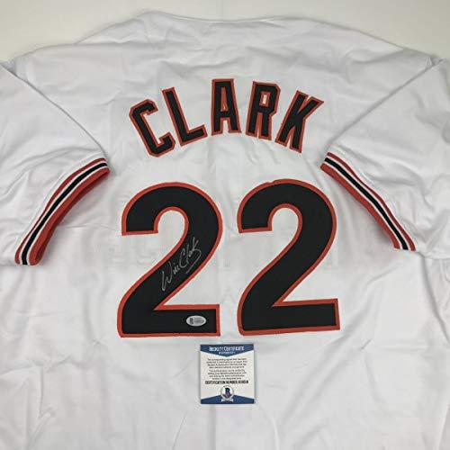 Will Clark Autograph - Autographed/Signed Will Clark San Francisco White Baseball Jersey Beckett BAS COA