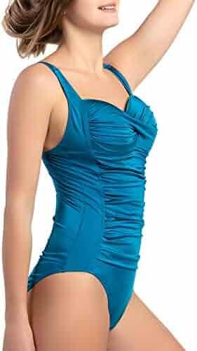 54254ce776b4d Women's One Piece Swimsuits Vintage Folds Push up Bathing Suits Tummy  Control Tank Suit