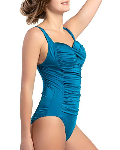 (Women's One Piece Swimsuits Vintage Folds Push up Bathing Suits Tummy Control Tank Suit Peacock Blue)