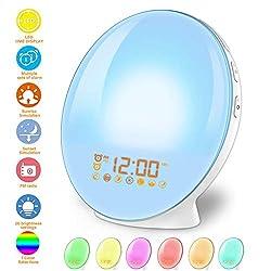 Wake Up Light Alarm Clock Lamp Alarm Clock Radio Sunrise Alarm Clock Fading Sunset with 7 Colors Sleep and Wake Up with PM Radio Light Alarm Clock Alarm Clock for Sleep Kids,Adults (White)