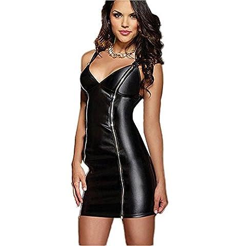 Wonder Beauty Womens Faux Leather Dress Black Vinyl Halloween Clubwear with Two Way Zippers - Black Pvc Vinyl Mini