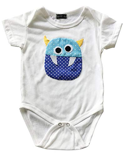 - Handmade Monster Patchwork Infant Bodysuit Baby Short Sleeve Romper Onesie One Piece Jumpsuit