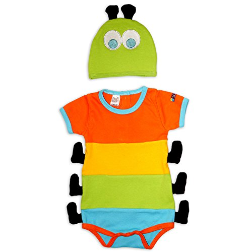 Sozo Baby Caterpillar Bodysuit & Hat Set, Multi,