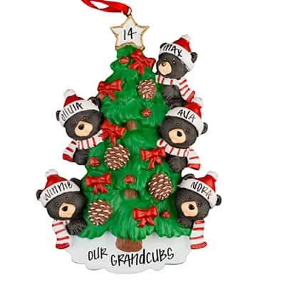 Black Bear Tree Family of 5 Personalized Ornament - (Unique Christmas Tree Ornament - Classic Decor for A Holiday Party - Custom Decorations for Family Kids Baby Military Sports Or Pets)