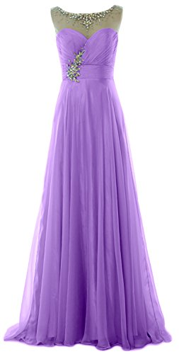 MACloth Elegant Long Prom Dress Illusion Chiffon Wedding Party ...
