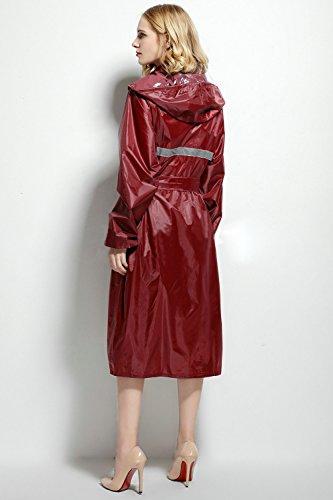 Rompevientos Lluvia Rojo Poncho Elegante Con rompevientos Abrigo Mujer Bozevon Hombres Violet Capucha Larga Chaqueta Impermeable Sudadera P6cv7q