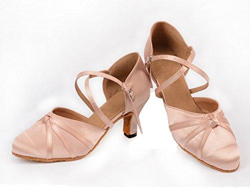 Salsa Dance Strap Satin Toe Latin Fashion Ballroom Ankle Beige Tango Wedding Modern TDA Womens Peep Knot Shoes qOtT8n