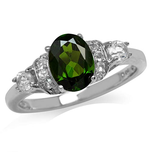 1.32ct. Green Chrome Diopside & White Topaz Gold Plated 925 Sterling Silver Right Hand Ring Size 7
