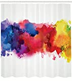 small bathroom paint ideas Ambesonne Abstract Shower Curtain, Vibrant Stains of Watercolor Paint Splatters Brushstrokes Dripping Liquid Art, Fabric Bathroom Decor Set with Hooks, 75 Inches Long, Red Yellow Blue