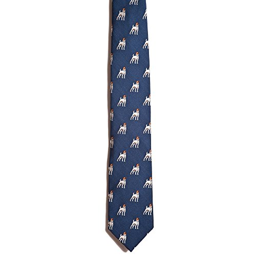 (Chipp 2 Jack Russell Terrier Silk Necktie with Deep Blue Background)