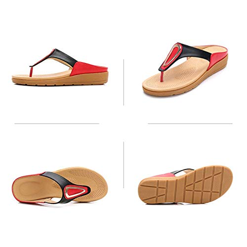 Spiaggia Estate Traspirante Toe Pantofole Sandwich Di Moda red Donna Infradito Colore Open All'aperto Sandali Metallo 39 Da Accogliente Stile Abbinamento Boemia 47Tq6nw