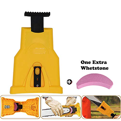 CZS Chainsaw Sharpener Bar-Mount Chain saw Teeth Sharpening Tool Kit Fast-Sharpening Stone for Saw Chain with Two Holes (One Extra Whetstone)