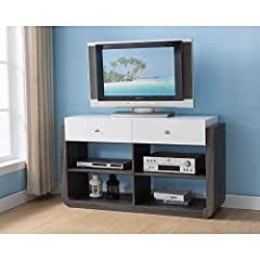 Find a place for all your electronics with the Zilo TV stand by Furniture of America. Defined by a sophisticated Distressed Grey and Glossy White finish, the buffet offers all the storage space you need for an organized electronics and small ...