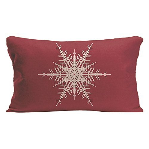 LDJ Cotton Polyester Chair Seat Rectangle Throw Pillow Case Decorative Cushion Cover Pillowcase Design With Snowflake Holiday In Red Custom Pillow Print Double Side Size 12x20 Inches - Snowflake Embroidered Sheet Sets