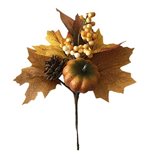 Idealpark Artificial Pumpkin Bouquet, with Maple Leaves Berry Pine Cones Decoration for Autumn Display Wedding Party Holiday Miniature Garden Candy Boxes Bag Venue Decoration Craft DIY
