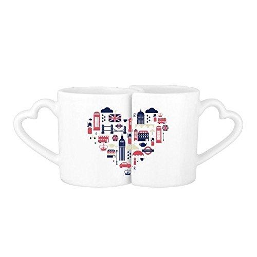 Love Heart London Bridge UK England Big Ben The London Eye Illustration Pattern Lovers' Mug Lover Mugs Set White Pottery Ceramic Cup Milk Coffee Cup with Handles