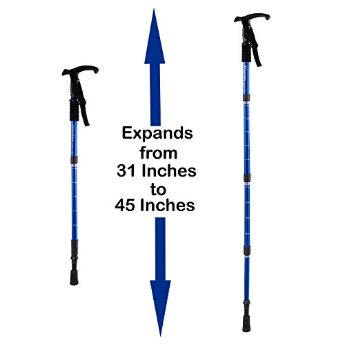 All Surfaces Cane Anti Shock For Less Impact on Wrist, Arms, and Shoulders – Adjustable Height