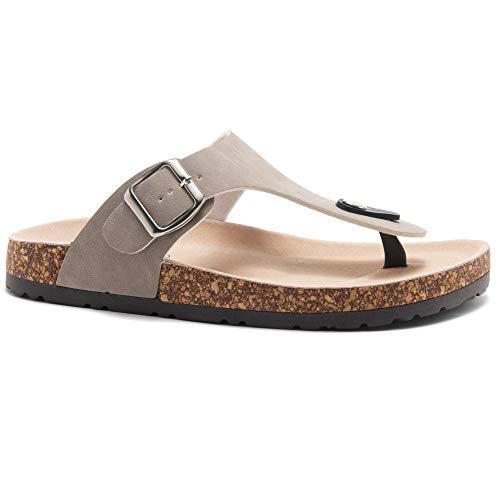 (Herstyle Abella Women's Comfort Buckled Slip on Sandal Casual Cork Platform Sandal Flat Open Toe Slide Shoe Taupe 9.0)