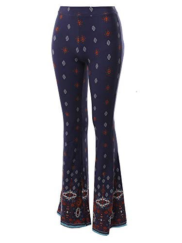 Made by Emma High Waist Boho Print Bell Bottom Palazzo Pants Light Navy ()