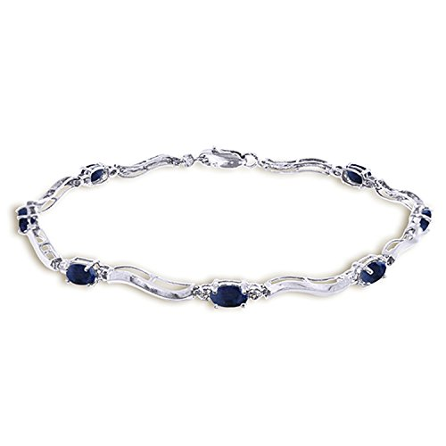 2.01 CTW 14K Solid White Gold Tennis Bracelet Diamond Sapphire