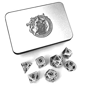 DragonSteel Solid Metal Polyhedral 7 Die D&D Dice Set with Case | For Tabletop d20 RPGs like DnD and Pathfinder Roleplaying Game, Board Games, Math