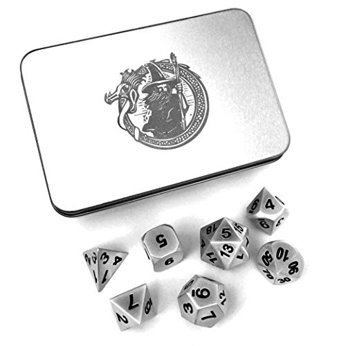 DragonSteel Solid Metal Polyhedral 7 Die D&D Dice Set with Case | For Tabletop d20 RPGs like DnD and Pathfinder Roleplaying Game, Board Games, -