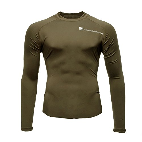Fusion VS Wear Men's Microfiber Slim Fit High Compression Poly-Lycra Long Sleeve Raglan Athletic Sport Fitted Training Thermal Baselayer Tactical Crew Shirt Made in USA Large Coyote Brown - Edge Long Sleeve Thermal Shirt