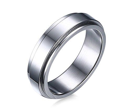 Engraved Spinner Band (BBX 6mm Stainless Steel Simple Plain Spinner Ring for Engagement Wedding Band,Size)