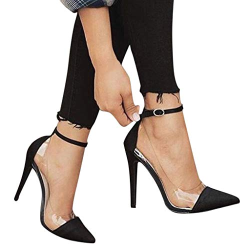 Cenglings Womens Pointed Toe Transparent Sandals Ankle Strap High Stiletto Heel Pumps Shallow Sandals Party Shoes Black