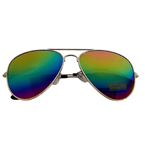gafas VERS Sol De 12 porno Pilot Gafas Aviador Gafas piegelt Regenbogen rainbow Gafas nbsp;colores UqRxgZ1zx