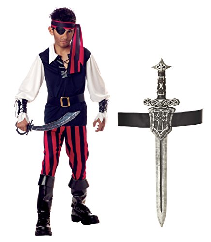 California Costumes Cutthroat Pirate Boys Costume with Sword & Sheath Bundle Costume, White/Black/Red