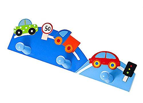 Triple gancho perchero de pared la ropa en tonos azules y decorado con coches para la habitación de los niños: Amazon.es: Juguetes y juegos