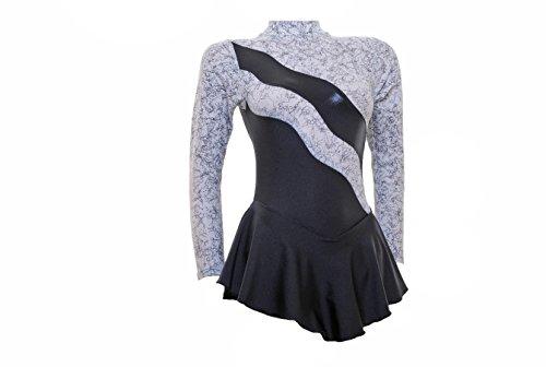 Wholesale Dance Long Sleeve Ice/Skating/Majorette Dress White Lycra With Black Metallic Foil, Black Shine Detail and Black Shiny Lycra (#S101a) Multicoloured