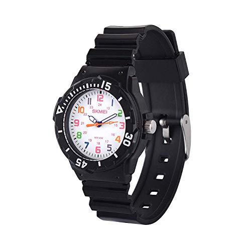 Kids 50M Waterproof Watch,PU Band Wrist Watch for Boys Girls, Black