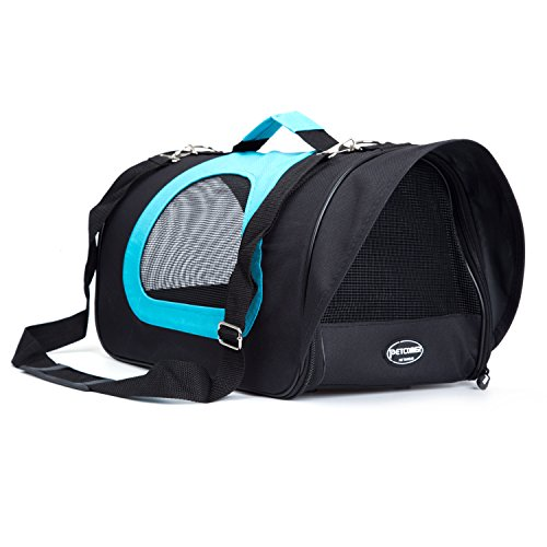 Pettom Pet Carrier for Dogs & Cats Comfort Airline Approved Travel Tote Soft Sided Bag (Blue)