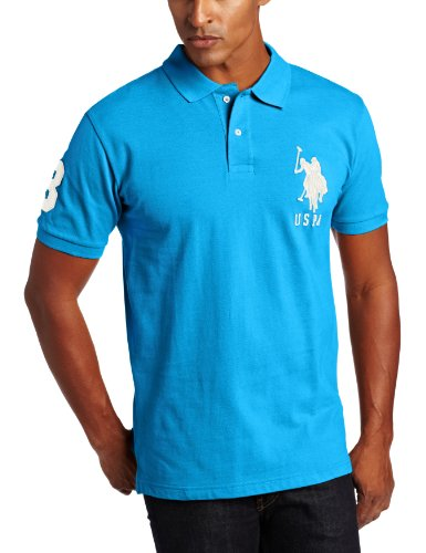 U.S. Polo Assn. Men's Solid Polo with Big Pony, Caribbean Blue Heather, Large