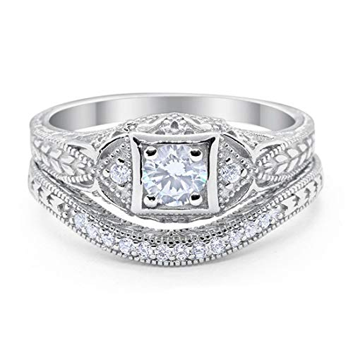 Blue Apple Co. Art Deco Vintage Style Two Piece Wedding Engagement Bridal Set Ring Band Round Simulated CZ 925 Sterling Silver, Size-8 ()